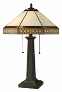 Dimond D1858 Stone Filigree 2 Lamp Tiffany Bronze Table Lamp With Pull Chains