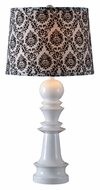 Kenroy Home 32222WH Gambit Gloss White Table Lamp With Patterned Tapered Drum Shade
