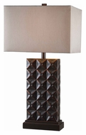 Kenroy Home 32211BZC Cross Hatch Bronze Finish Rectangle Shade Table Light