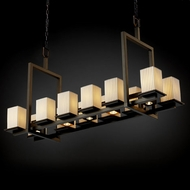 Justice Design 8620 Montana 12-uplight/5-downlight Contemporary Short 27 Bridge Chandelier with Square Shades and Multiple Glass Options