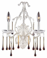 ELK 4000/2AMB Opulence Antique White 15 Inch Tall 2 Lamp Candle Sconce - Amber Crystals