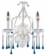 ELK 4000/2AQ Opulence 12 Inch Wide 2 Candle Aqua Crystal Sconce - Antique White