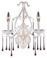 ELK 4000/2RS Opulence 15 Inch Tall Antique White Rose Crystal Candle Sconce