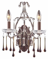 ELK 4010/2AMB Opulence Rust Finish Amber Crystal Candle Sconce - 15 Inches Tall