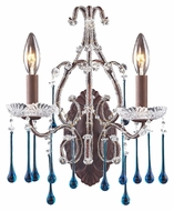 ELK 4010/2AQ Opulence 15 Inch Tall Aqua Crystal Candle Sconce Lighting