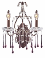 ELK 4010/2RS Opulence Rose Crystal 15 Inch Wide 2 Candle Sconce - Rust