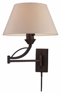 ELK 17026/1 Elysburg Swing Arm 17 Inch Tall Aged Bronze Bedside Lamp
