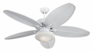 Monte Carlo Fans 5CU52WH Cruise White Outdoor Palm Blade 52 Inch Wide Ceiling Fan With Optional Light