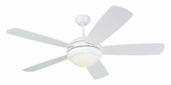 Monte Carlo Fans 5DI52WHD-L Discus Contemporary 52 Inch Wide 5 Blade White Ceiling Fan Light Fixture