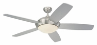 Monte Carlo Fans 5SLR52BSD-B Sleek Brushed Steel 52 Inch Wide 5 Blade Contemporary Ceiling Fan
