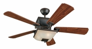 Monte Carlo Fans 5TQ52RBD-L Town Square 3 Speed American Walnut Blade 52 Inch Wide Roman Bronze Fan Light Fixture