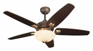 Monte Carlo Fans 5VSR44RID-L Versio II Bronze Finish Contemporary 44 Inch Wide Ceiling Fan With Downlight