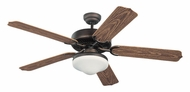 Monte Carlo Fans 5WF52RBD-L Weatherford Deluxe Transitional Roman Bronze Finish 52 Inch Wide Outdoor Ceiling Fan With Downlight