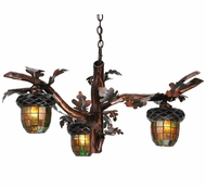 Meyda Tiffany 113923 Oak Mountain Acorn Branch Three-Light Rustic Chandelier