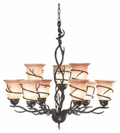 Kenroy Home 90909BRZ Twigs 9-Light Rustic Chandelier
