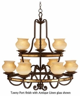 Kalco 6109 Durango Tawny Port 9-Light Rustic Chandelier