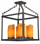 Meyda Tiffany 107866 Square Box 4 Lamp Mahogany Bronze Faux-Candle Chandelier