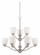 Nuvo 605039 Patton Frosted Glass 30 Inch Diameter 9 Light Chandelier - Brushed Nickel