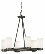 Kenroy Home 91766SBZ Toronto 6 Lamp Satin Bronze 26 Inch Diameter Lighting Chandelier