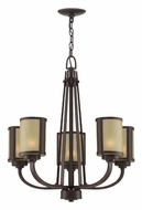 Lite Source LS18475 Zerlam Transitional 22 Inch Diameter 5 Lamp Chandelier Lighting - Aged Bronze