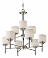 Feiss F2767/6+3PN Malibu 2 Tier 9 Lamp Polished Nickel Finish Lighting Chandelier