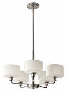 Feiss F2773/5BS Kincaid 25 Inch Diameter Transitional 5 Lamp Chandelier Light - Brushed Steel