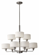 Feiss F2774/6+3BS Kincaid Brushed Steel 2 Tier Transitional 9 Lamp Ceiling Chandelier