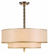 Crystorama 9507-AB Luxo Antique Brass Large Gold Silk Shade Transitional Chandelier Light Fixture
