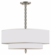 Crystorama 9507-SN Luxo 26 Inch Diameter Large Silver Silk Shade Transitional Satin Nickel Chandelier Lighting