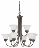 Thomas SL805215 Bella Large 9 Lamp Transitional Etched Glass Hanging Chandelier Light
