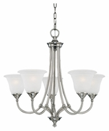 Thomas SL880141 Harmony Small 5 Light Satin Pewter Transitional Hanging Chandelier