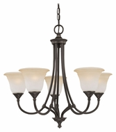 Thomas SL880162 Harmony Transitional 26 Inch Diameter Small 5 Light Aged Bronze Chandelier Light