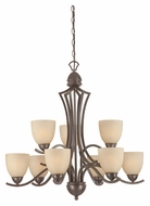 Thomas SL808322 Triton 31 Inch Diameter Transitional 9 Lamp 2 Tier Sable Bronze Chandelier Light