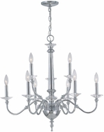 Lite Source LSEL-10016 Manica 28 Inch Diameter Transitional Chrome Finish 9 Candle Hanging Chandelier