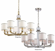 Hudson Valley 5328 Rock Hill Large 32 Inch Diameter 8 Light Chandelier With Black Trimmed Faux Silk Shade