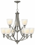 Hinkley 4028AN Truman Two Tiered 9-Light Nickel Dining Chandelier Light