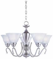 Maxim 12063MRSN Newport 5-lamp Satin Nickel Upfacing Chandelier with Marble Shades