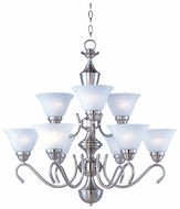 Maxim 12065MRSN Newport 9-light Large Satin Nickel Chandelier with Marble Glass