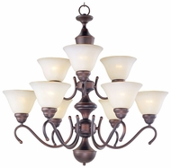 Maxim 12065WSOI Newport 9-light Oil-Rubbed Bronze Chandelier with Wilshire Glass Shades