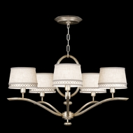 Fine Art Lamps 785440 Allegretto Silver Small 5-lamp Modern Chandelier with Shades