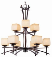 Maxim 10986WSRC Asianna 2 Tier 9 Light Wooden Chandelier