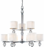 Troy F1589PC Bentley 9 Light White and Chrome Chandelier