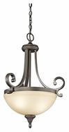 Kichler 43163OZ Monroe 17 Inch Diameter Olde Bronze Traditional Small Inverted Pendant Lighting