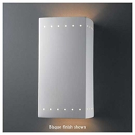 Justice Design 965 Ambiance Large Rectangle Wall Sconce w/ Perforations, Open Top & Bottom