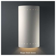 Justice Design 1190 Ambiance Really Big Cylinder w/ Perforations Wall Sconce, Closed Top