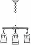 Arroyo Craftsman RCH-6/4-1 Raymond Craftsman 5-Light Chandelier - 23.75 inches wide
