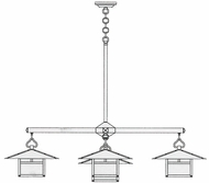 Arroyo Craftsman MCH-17/4-1 Monterey Craftsman 5 Light Chandelier - 62.5 inches wide