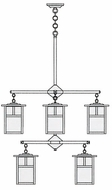 Arroyo Craftsman MCH-7/4/4 Mission Craftsman 8 Light Chandelier - 31.625 inches wide