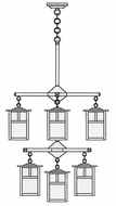Arroyo Craftsman MCH-6/4/4-1 Mission Craftsman 9 Light Chandelier - 24.5 inches wide