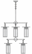 Arroyo Craftsman GCH-9L/4/4 Glasgow Craftsman 8 Light Long Body Chandelier - 33.375 inches wide